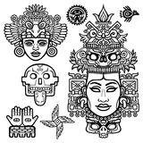 Set of graphic elements based on motives of art Native American Indian. Animation stylized images of ancient gods, idols, deity. Linear drawing isolated on a Royalty Free Stock Photography