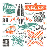 Set of graphic elements. Bus, surfing, shark Royalty Free Stock Photography