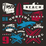 Set of graphic elements. Bus, surfing, shark Stock Photo