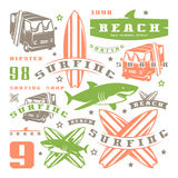 Set of graphic elements. Bus, surfing, shark Stock Photography