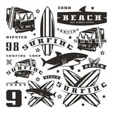 Set of graphic elements. Bus, surfing, shark Royalty Free Stock Photo