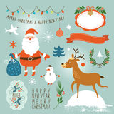 Set of graphic elements, Christmas and New Year stock illustration