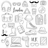 Set of graphic elements icons. Hipster accessories. Doodle cartoon comic background, wallpaper, template, backdrop Royalty Free Stock Photo