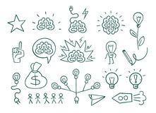 Set graphic elements idea, brain creative brainstorming. Suitable for business presentations. Drawn in pencil. Vector illustration Stock Photo