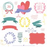 Set of graphic elements for a wedding. Stock Images