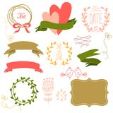 Set of graphic elements for a wedding. Royalty Free Stock Photos