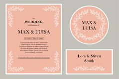 Set Graphic elements for the wedding. Frames of leaflets, twigs. Invitation cards. Invitations wedding card with elegant Royalty Free Stock Photography