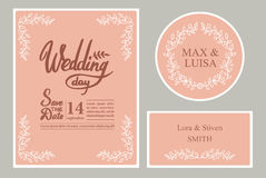 A set of graphic elements for the wedding on a pink background. Frames of leaflets. twigs. Invitation cards vector illustration