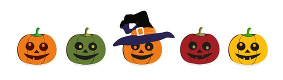A set of graphic emoticons - pumpkin. Emoji collection. Smile icons. Vector illustration on white background royalty free illustration