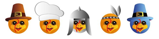 A set of graphic emoticons - turkey. Emoji collection. Smile icons. royalty free illustration