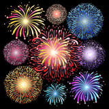 Set of graphic fireworks. Graphic vector set of colorful fireworks on the black background Royalty Free Stock Photography