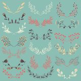Set of Graphic Floral Design Elements Stock Photos