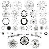 Set of graphic flowers Royalty Free Stock Image