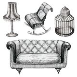 Set of graphic furniture. With chair, sofa, birdcage and lamp Stock Image
