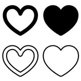 Set of graphic heart icons. On white background Stock Image