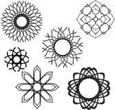 Set of graphic ornamental frames, black Royalty Free Stock Photo