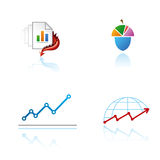 Set of graphic symbols on analytical theme Stock Image