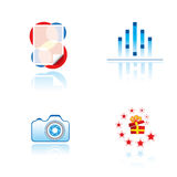 Set of graphic symbols on entertainment theme. Vector symbols for entertainment industry or other Stock Photo