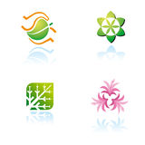Set of graphic symbols on nature theme Royalty Free Stock Images
