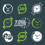 Set of graphic web vector 24 hours timers, around-the-clock. Flat invert pictograms. Day-and-night interface icon. Collection of business time management Royalty Free Stock Images