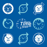 Set of graphic web vector 24 hours timers, around-the-clock flat Royalty Free Stock Photos