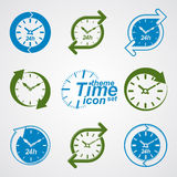 Set of graphic web vector 24 hours timers, around-the-clock flat. Pictograms. Day-and-night interface icon. Collection of business time management illustrations Royalty Free Stock Photo