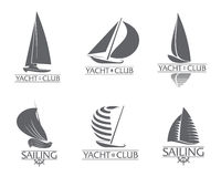 Set of graphic yacht club, sailing sport logo templates Royalty Free Stock Images