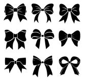 Set of graphical decorative bows. Vector icon collection Royalty Free Stock Photos