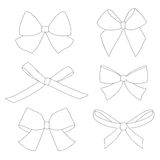 Set of graphical decorative bows. Royalty Free Stock Photography