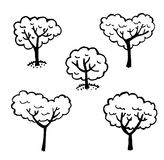 Set of  graphics elements isolated trees Royalty Free Stock Photos