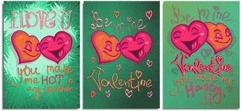 Set of graphics postcard, posters, for Happy Valentine day. Happy color bright cartoon hearts falling in love and make royalty free illustration