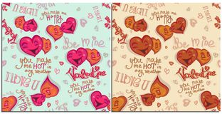 Set of graphics seamless pattern for Happy Valentine day. Happy color bright cartoon hearts falling in love Lettering stock illustration