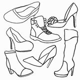 Set of graphics shoes silhouette. vector illustration Royalty Free Stock Photography