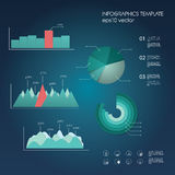 Set of graphs and charts in modern material design. Infographic elements collection for data statistics presentation. Eps10 vector illustration Stock Images