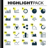 Set Of Graphs, Diagrams And Statistics Icons. Premium Quality Symbol Collection. Icons Can Be Used For Web, App And UI. Set Of Graphs, Diagrams And Statistics Royalty Free Stock Image