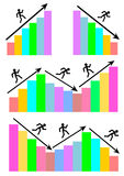 A set of graphs showing a man running up and down towards his success or failure Stock Images