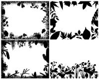 Set of grass silhouettes. Set of four vector grass silhouettes backgrounds Vector Illustration