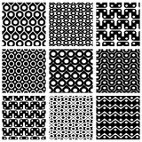 Set of grate seamless patterns with geometric figures. Ornamental monochrome wavy tiles, infinite geometric surface textures with squares and ovals, black and Stock Photos