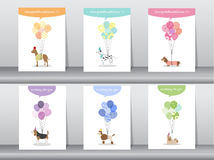 Set gratulacj karty, plakat, szablon, kartka z pozdrowieniami, cukierki, balony, zwierzęta, psy, Wektorowe ilustracje Obraz Royalty Free