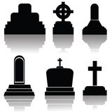 Set of gravestone silhouettes Stock Image