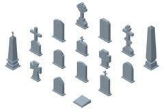 Set of gravestones isolated on white background. Isometric vector illustration Royalty Free Stock Image