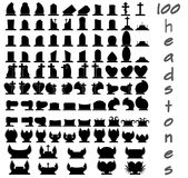 Set of 100 gravestones Stock Images