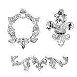 Set of gravure design elements. Set of black hand-drawn gravure design elements vector illustration
