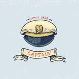 Set grawerujący rocznik, ręka, etykietki lub odznaki dla kapitan nakrętki, rysująca, stara, Morski, nautyczny i denny, oceanów em ilustracja wektor