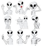 Set of gray aliens body language royalty free stock image