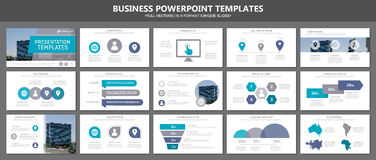 Set of gray and blue elements for multipurpose presentation template slides with graphs and charts. Leaflet, corporate Stock Photos
