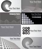 Set of Gray Business Cards. Vector set of eight gray business card designs Stock Photo