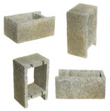 Set gray cement cinder block isolated on white Royalty Free Stock Photography