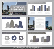 Set of gray elements for multipurpose presentation template slides with graphs and charts. Leaflet, corporate report. Vector template for multipurpose Royalty Free Stock Image