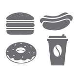 A set of gray icons for fast food. Royalty Free Stock Photo